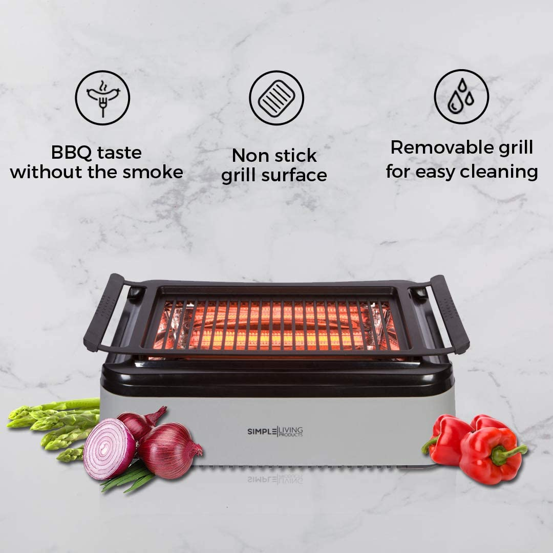 Simple Living Advanced Indoor Smokeless BBQ Grill Powered With Infrared Technology with Virtually Zero Smoke Special Reflectors For Indoor Constant Temperatures Turbo Speed Easy Cleaning