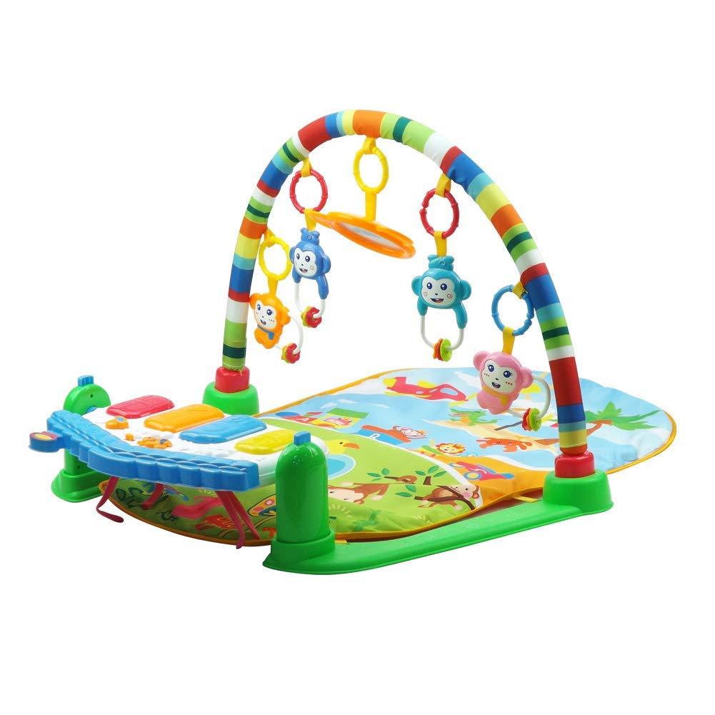 Jueven 玩具赤ちゃんのおもちゃ多機能音楽フィットネスラック玩具赤ちゃんクロールマットゲーム毛布赤ちゃんピアノマット新生児早期教育機ペダルピアノ (色 : Green)  Green B07MD2R272