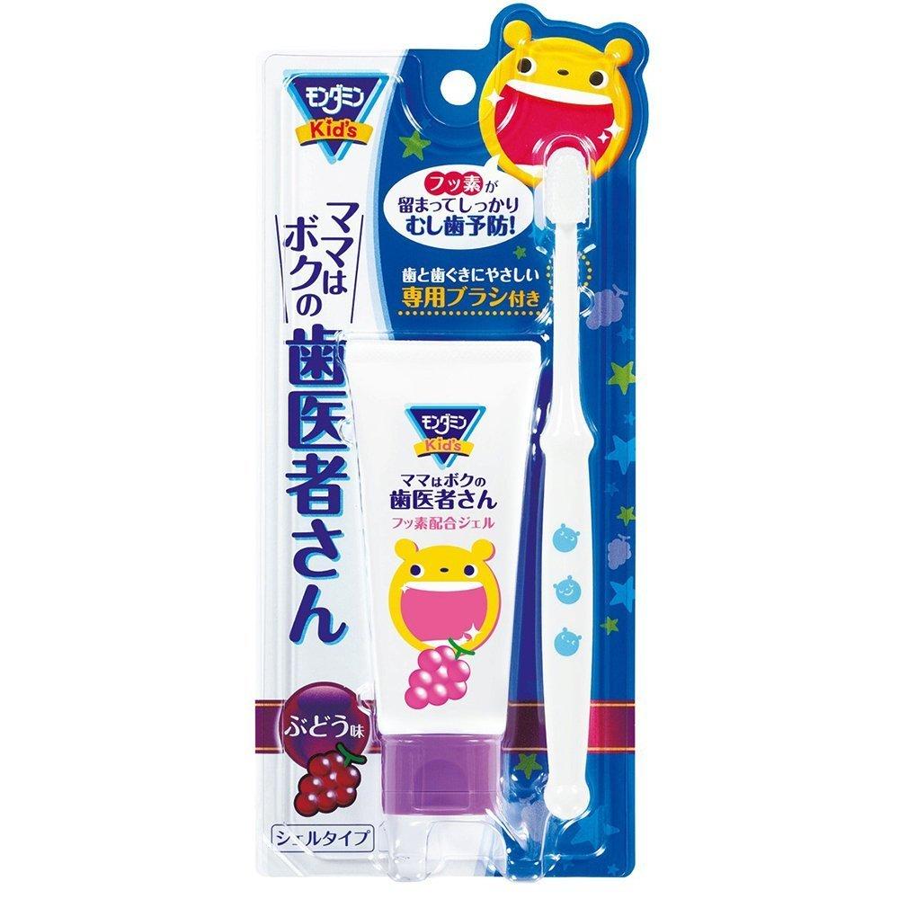 アース製薬 モンダミンKids ママはボクの歯医者さん ジェルタイプ ぶどう味 50g (専用やわらかブラシ付き)×16点セット (4901080528513)   B00SB677WE