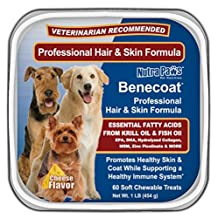 Benecoat Professional Hair and Skin Formula has Fish Oil for Dogs, Krill Oil, EPA, DHA, Collagen, MSM and Zinc Picolinate 60 Soft Chews 1lb cheese flavor