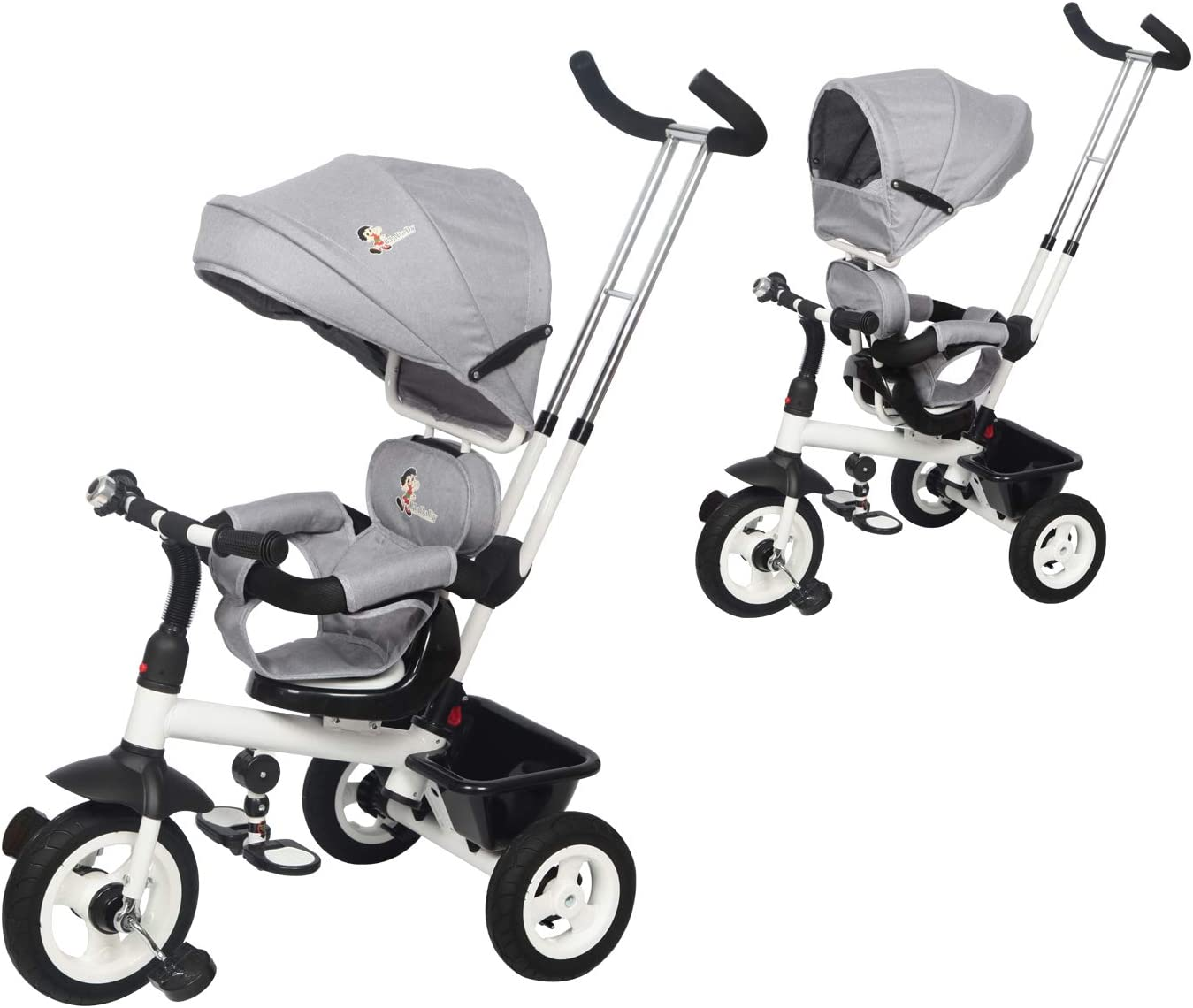 Diroan Baby Tricycle, 6-in-1 Kids Trike & Stroller with Adjustable Push Handle, Removable Canopy, Safety Harness for 8 Months - 6 Year Old