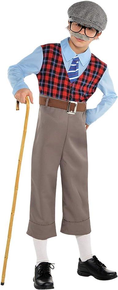 Amscan Old Geezer - Disfraz de abuelo para niño, Multicolor, Niño ...