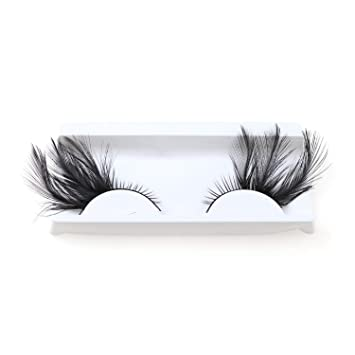 9a80f053add Amazon.com : 1 Pair Hand Made Colorful Feature Fake Eyelashes Winged False  Eyelashes For Halloween Makeup Party Stage makeup, Black : Beauty