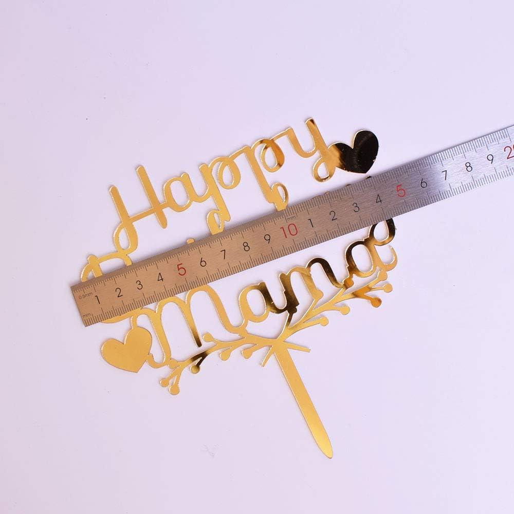 YUINYO Happy Acrylic Heart Birthday For Mama Cake Topper for Birthday Party Decorations Happy Mama Birthday Supplies Decorations (gold)