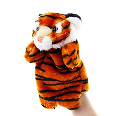 YESZ Tiger Finger Doll Kids Lovely Tiger Cartoon Animal Doll Plush Sleeve Hand Puppet Storytelling Toy - Deep Coffee: Toys & Games