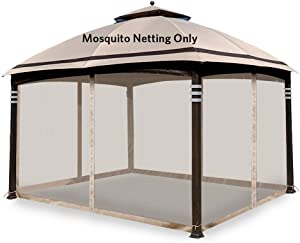 Hofzelt Gazebo Replacement Mosquito Netting Screen Walls for 10' x 12' Gazebo Canopy (Mosquito Net Only), Beige