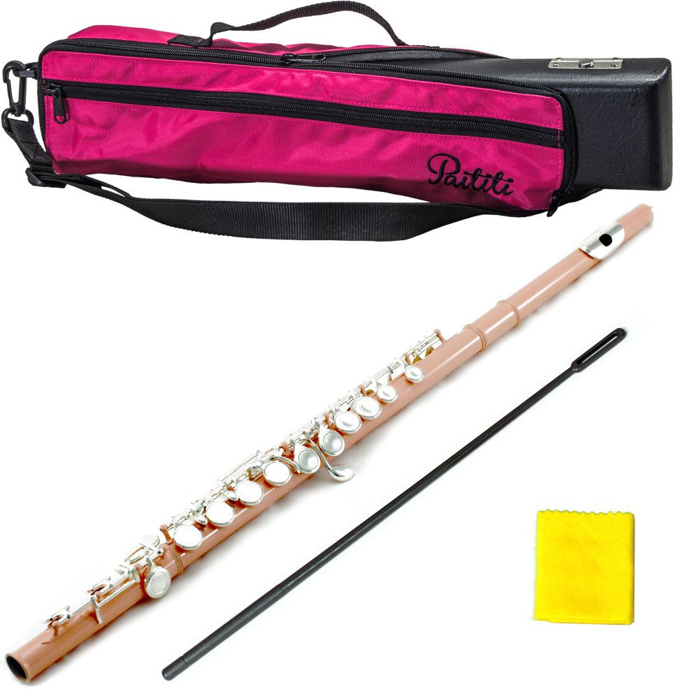 PAITITI Velvet Pink Plated Silver Key Close Hole C Flute, Guarantee Top Quality Sound with Lightweight Case, Case Cover and More