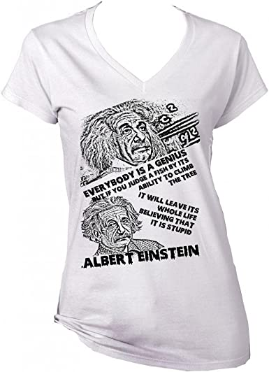 teesquare1st Albert Einstein Genius Quote 1 Camiseta Blanca para ...