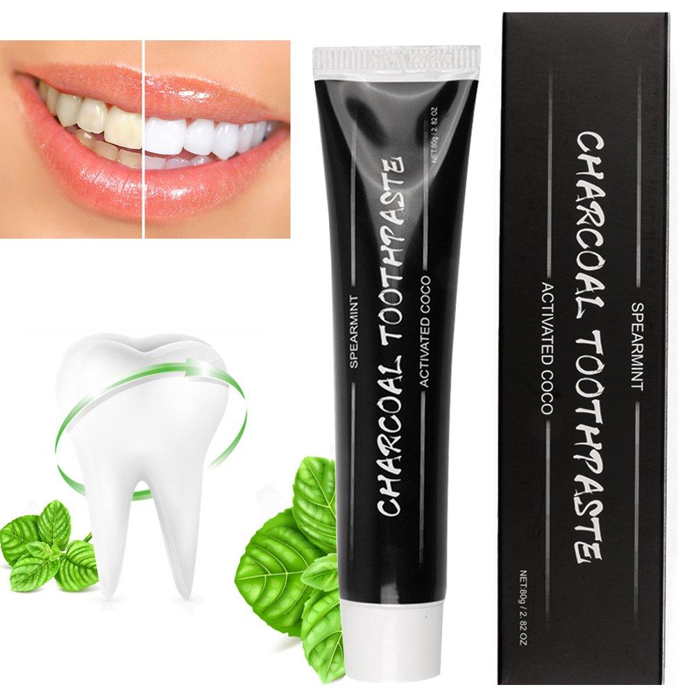 Pasta de dientes activada para blanqueamiento de dientes de carbón, blanqueador de dientes naturales de carbono Coco, tratamiento de mal aliento y elimina ...