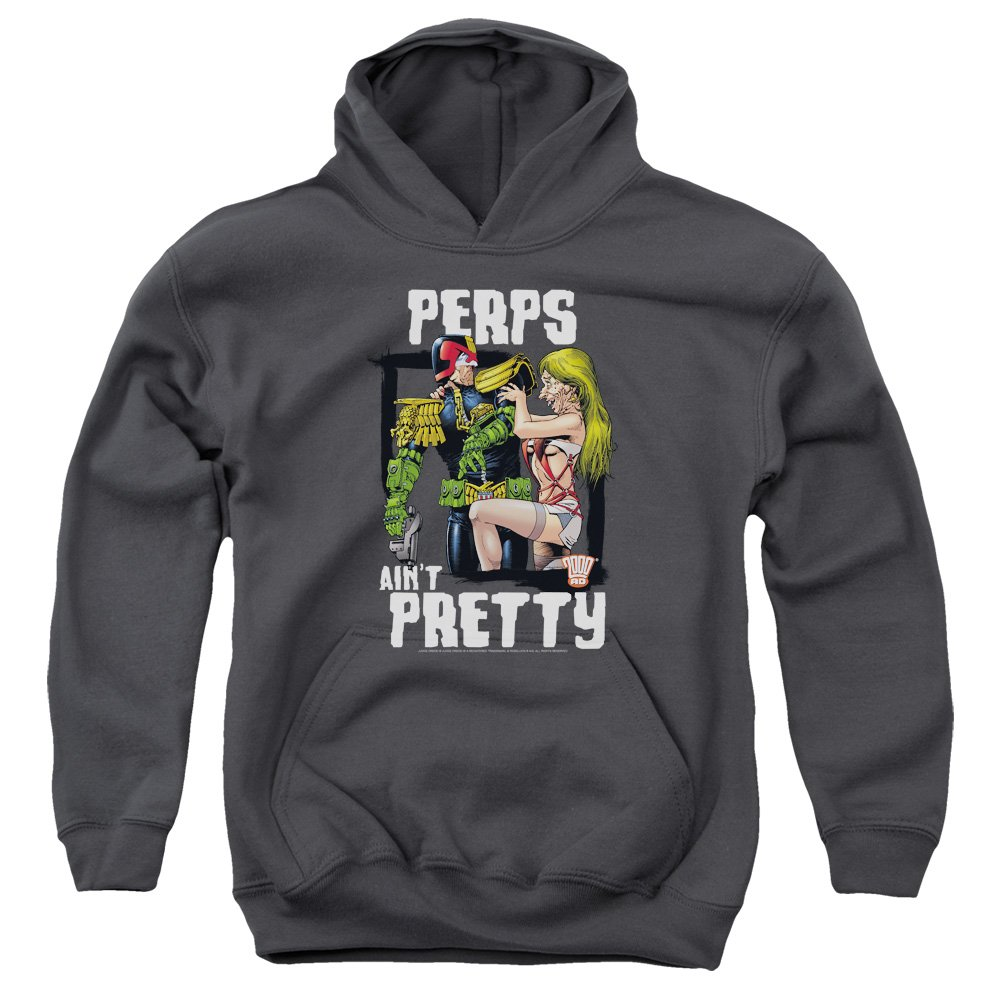 Trevco Judge Dredd-Ain T Pretty Youth Pull-Over Hoodie44; Charcoal Small