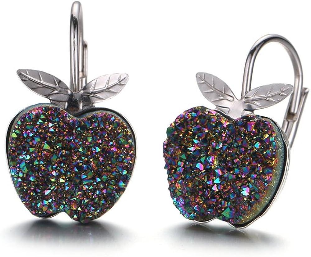 Cute Apple Shape Natural Druzy Stone Stud Earrings Sterling Silver Leverback Earrings
