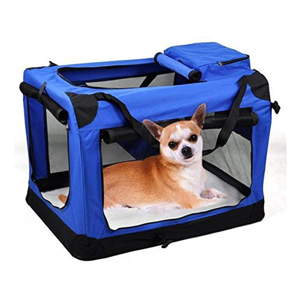 B Folding Fabric Soft Portable Pet Dog Cat Crate Puppy Kennel Cage Carrier House Medium 60x42x42cm,B