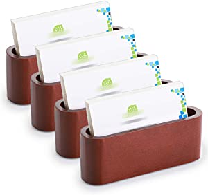 OwnMy 4PCS Business Card Holder Wooden Business Card Holder Card Case for Desk, Desktop Business Name Card Display Card Stand Oval Card Holder for Office for Home, Natural Beech