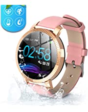 Byttron Fitness Watch for Women, Fitness Tracker Touch Screen Smartwatch IP68 Waterproof Smart Watch with Heart Rate Pedometer Step Counter Sleep Stopwatch for iOS Android Phone (pink)