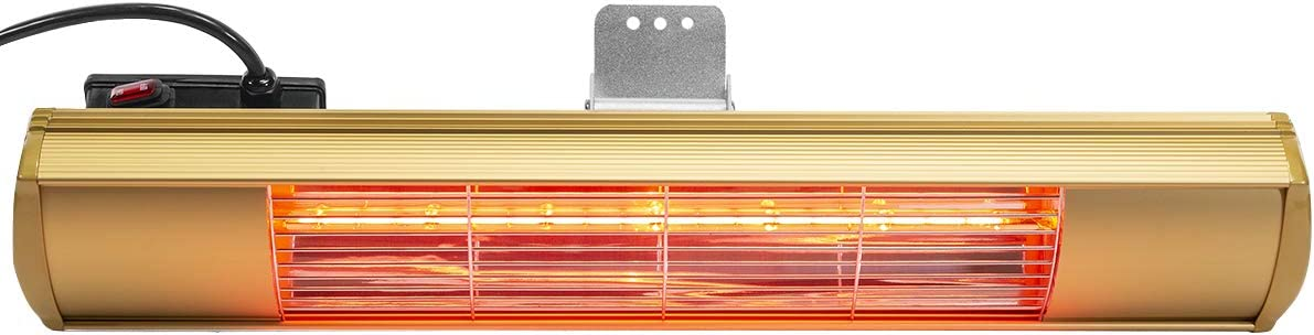 XtremepowerUS 96950 1500 Watt Wall-Mounted Infrared Electric Outdoor Patio Heater Gold