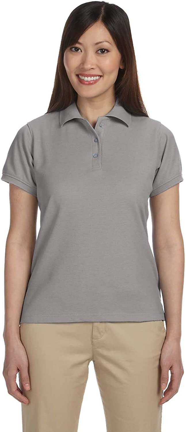 Harriton Ladies 5 oz L GREY HEATHER Blend-Tek Polo