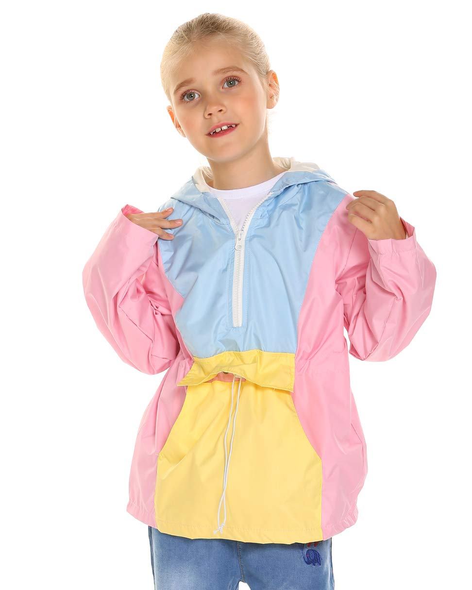Arshiner Girl's Waterproof Raincoat Switchback Rain Jacket Hot Pink 120