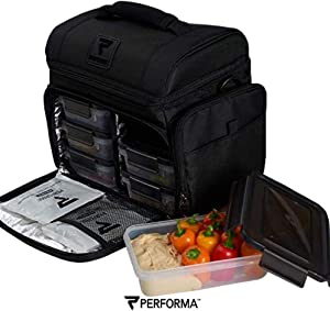Performa Meal Prep ISO Bag - Organized and Insulated 6 Lunch Prep Bag with Two Ice Packs and Shoulder Strap to Accommodate Your Daily Meal Prepping (Black)