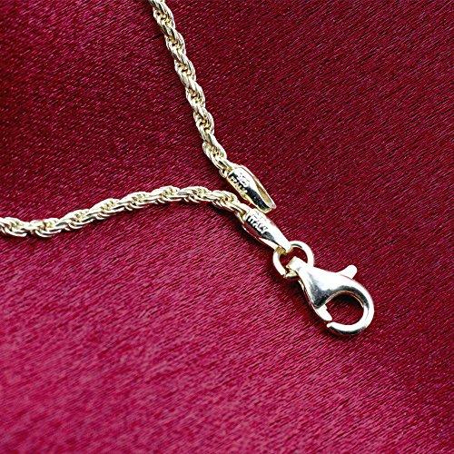 Gem Avenue 14k Gold over Sterling Silver Vermeil 1.5mm Rope Chain Ankle Bracelet (9'' - 11'' Available) by Gem Avenue (Image #3)