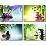 Piy Painting Cuadro en Lienzo en Zen on Canvas SPA Yoga Piedra Bambú Verde Pinturas murales Decoración Impresiones de Lienzo Sala de Estar Cocina Dormitorio 30x40cm 4units