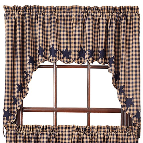 VHC Brands Classic Country Primitive Kitchen Window Curtains - Star Blue Scalloped Swag Pair, x King, Navy
