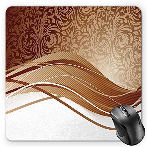 Chocolate Mouse Pad, Brown Toned Classical Medieval Foliage Motifs with Curved Stripes Pattern Gaming Mousepad Office Mouse Mat Pale Brown -