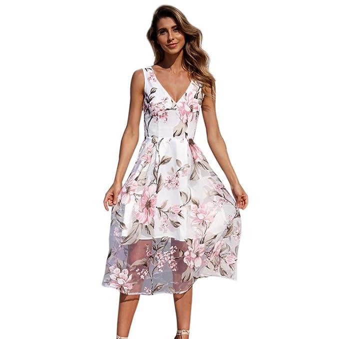 Vestidos Mujer Playa Fiesta Vestido Vestido Largo Fiesta De Malla Sin Mangas De Flores Estampado Floral