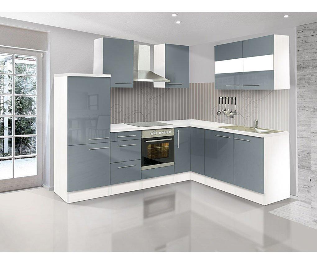 respekta Premium Leerblock L Küche 260 x 200 cm weiss grau Hochglanz