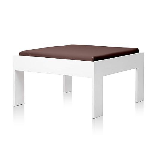 SUENOSZZZ - Sofa Jardin de Madera de Pino Color Blanco, MEDITERRANEO Mod. chaiselonge, Sillon cojín Polipiel Color Chocolate. Muebles Jardin Exterior. ...