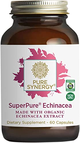 Pure Synergy USDA Organic SuperPure Echinacea Extract 60 Capsules Triple Extract w Echinacea purpurea and Echinacea angustifolia