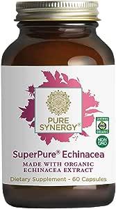 Pure Synergy USDA Organic SuperPure® Echinacea Extract (60 Capsules) Triple Extract w/Echinacea purpurea and Echinacea angustifolia