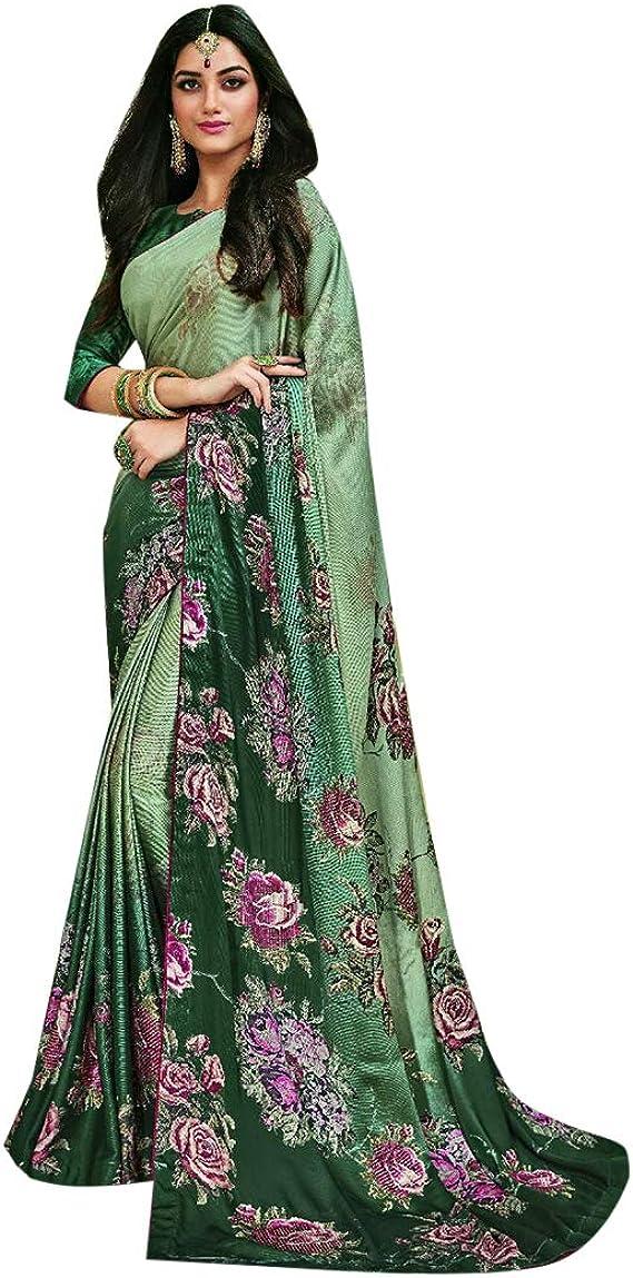 Vestidos de fiesta de diseño indio Satin Saree Sari con la blusa original de mujer india