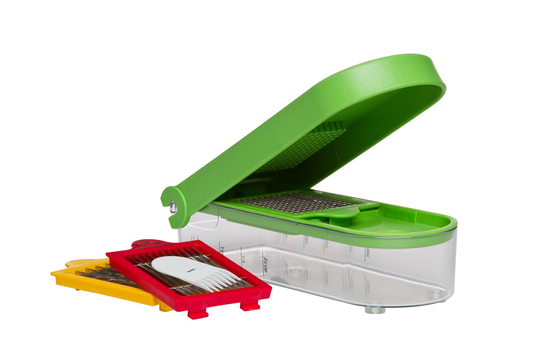 Prepworks by Progressive Dice and Slice Chopper, 3 Interchangeable Blades, Veggie Chopper, Fruit Chopper, Onion Chopper, Non-Skid Base