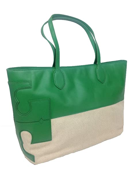 Amazon.com  Tory Burch Stacked Two Tone East West Tote in Emerald City  Green   Natural  Clothing da1704415c3a6