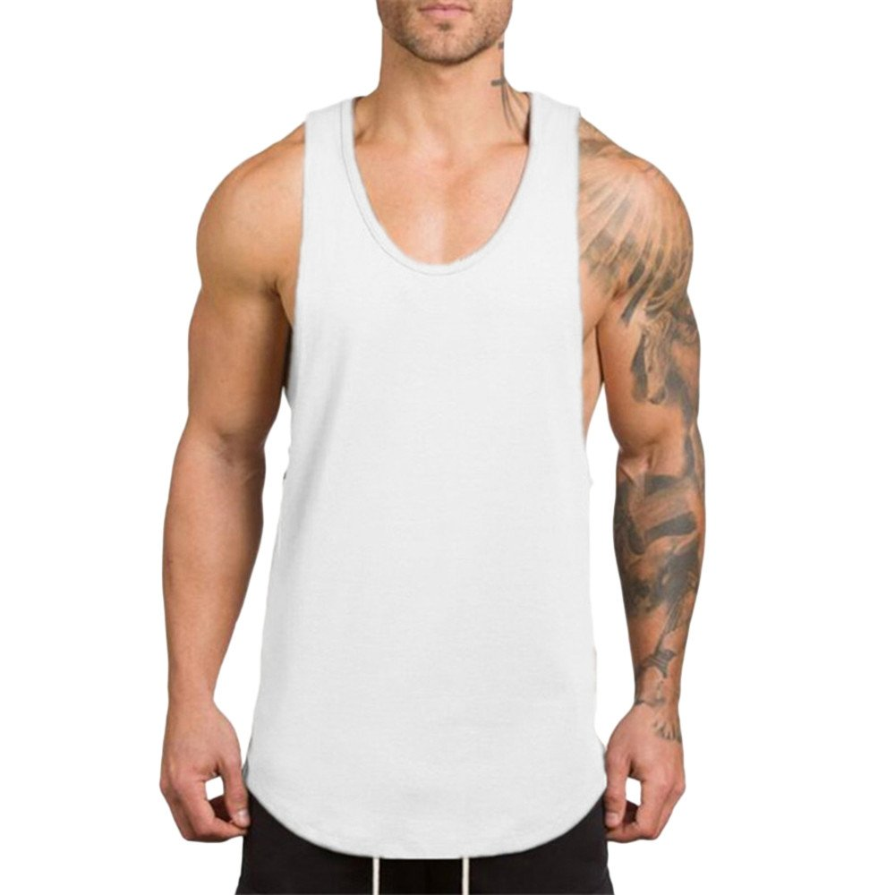 miqiqism Athletic Shirt Mens Sleeveless Muscle T-Shirt Gym Workout Stringer Tank Tops Bodybuilding Fitness T-Shirts Vest (White, M)