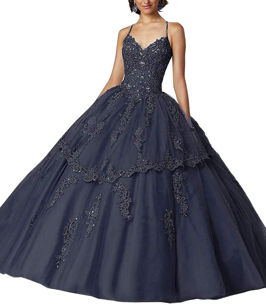 Navy bluee Jingliz Spaghetti Strap Quinceanera Dresses Formal Party Dress Sweet 16 Crystals Beaded Ball Gowns