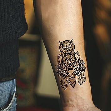 Amazon.com : TAFLY Owl+Wolf+Deer Feather Design Temporary Tattoos ...
