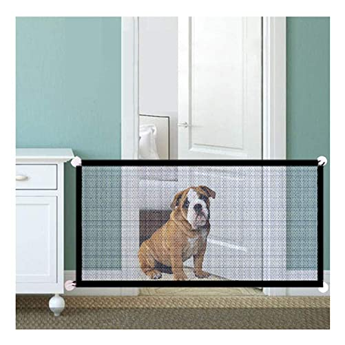 Baby Gate Magic Pet Gate for Dogs, Portable Folding Pet Isolation Mesh Dog Gate, Safety Fence for House Doorways Stairs 70.9 X28.3