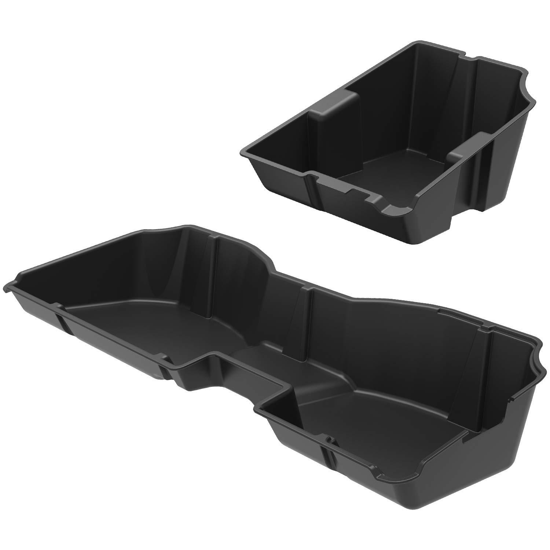 oEdRo Upgraded Under Seat Storage Box Compatible for 2014-2018 Chevrolet Silverado/GMC Sierra 1500, 2015-2019 Silverado/Sierra 2500 3500 HD Crew Cab - Unique Textured Black 2-in-1 Design Max Storage by oEdRo