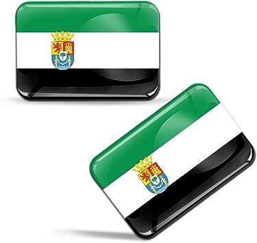 Biomar Labs® 2 x 3D Gel Pegatinas Siliconas Comunidad de España Bandera Extremadura Emblema Extremeña Español Stickers Spain Flag Adhesivos Auto Coche Moto Bicicleta Ordenador F 86: Amazon.es: Coche y moto