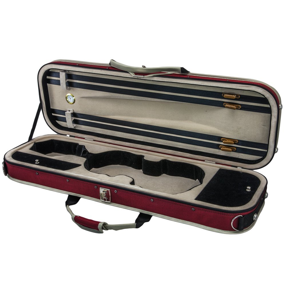 SKY 4/4 Full Size Violin Oblong Lightweight Case with Hygrometer Red/White Sports Style by Sky (Image #1)