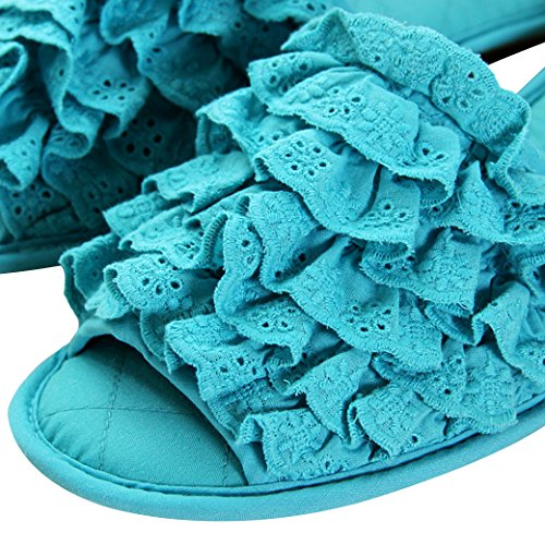 Euro Sky Vier Seizoen Candy Color Geplooid Kant Open Teen Waterdicht Huis Pantoffel Blauw