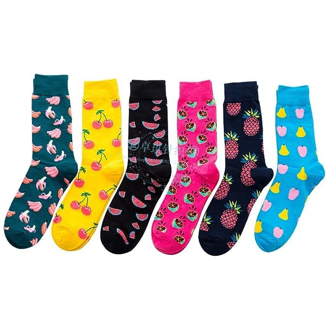 6 pares hombres mujeres patrón de fruta linda calcetines de algodón de tripulación, foto: Amazon.es: Ropa y accesorios