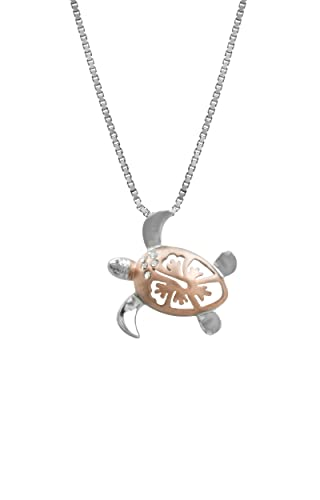 Sterling Silver with 14k Rose Gold Plated Shell Hibiscus Turtle CZ Pendant With 18 Box Chain 15mm