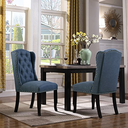Iconic Home Nayman Dining Side Accent Wingback Chair Button Tufted Velvet Upholstered Goldtone Nailhead Trim Tapered Espresso Wood Legs, Modern Transitional, Navy, Set of 2 Review