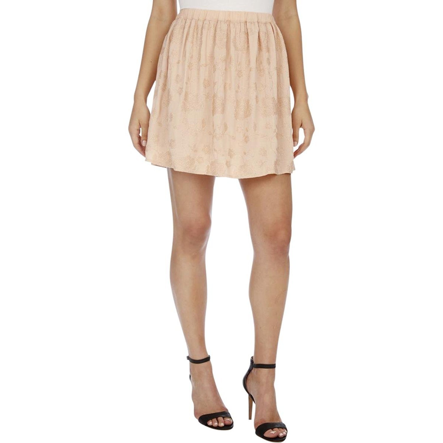 Lucky Brand Womens Embroidered Ruched A-Line Skirt Pink L