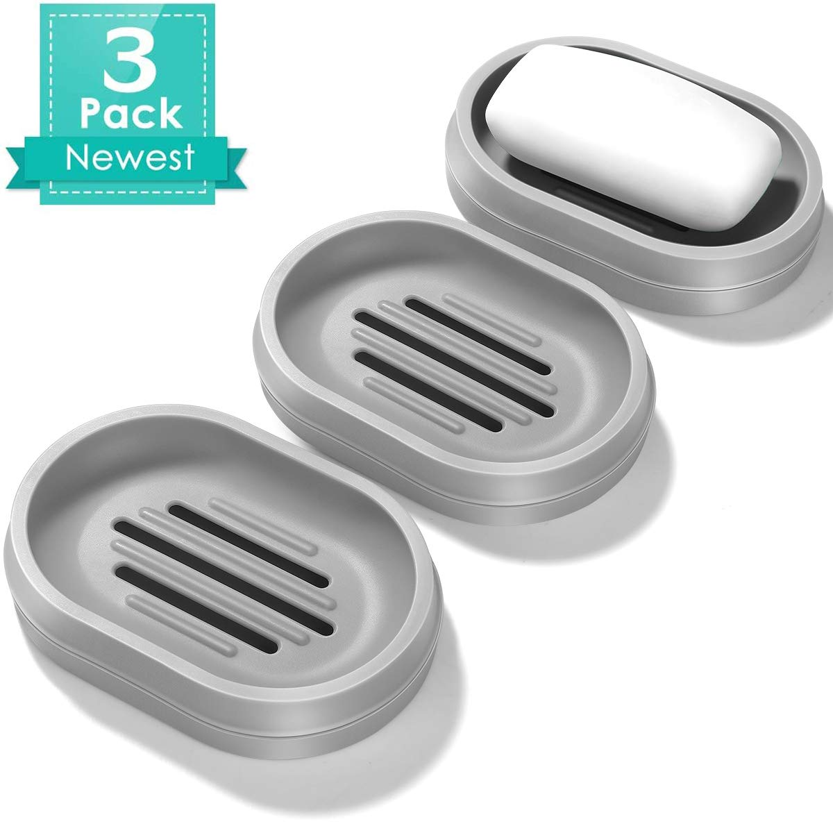 Homemaxs Soap Dishes with Drain 3 Pack, Soap Bar Holder Double-Layer, Soap Saver, Soap Cases, Durable Soap Dishes for Bathroom, Soap Dish for Shower, Easy Cleaning, Dry【2020 Latest】