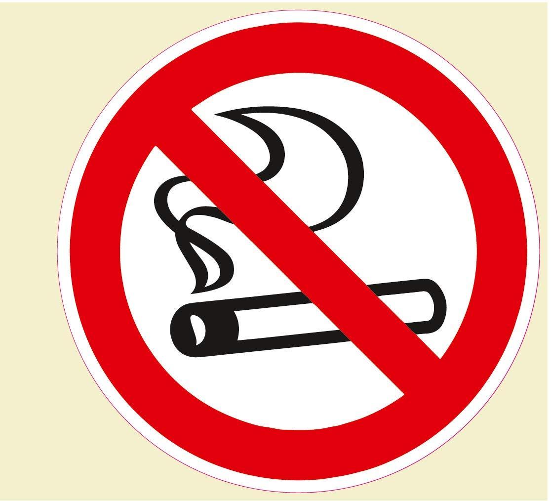 con protezione UV Set di 10 adesivi per divieto di fumo Divieto di fumare autoadesivi rotondi 95 m per interni ed esterni
