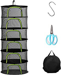 Herb Drying Rack, 6 Layer 2ft Hanging Drying Rack with U Shape Zipper, Plant Drying Rack with Garden Shears Pothook and Pouch for Herbs Petals Plants Vegetables