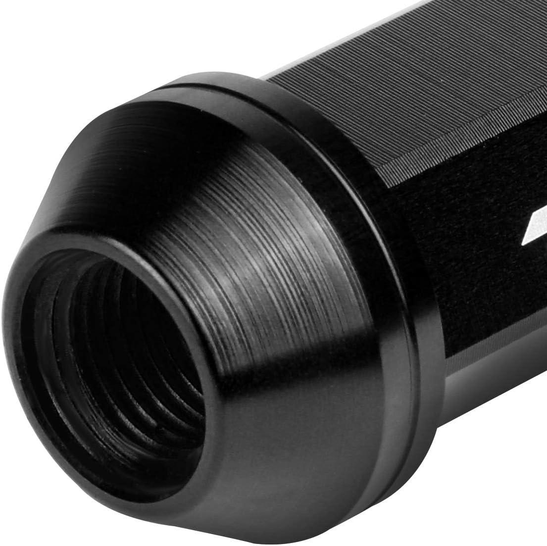 J2 Engineering 7075-T6 Aluminum M12 x 1.25 20Pcs 50mm Tall Knurled Top Lug Nut w//Adapter Black
